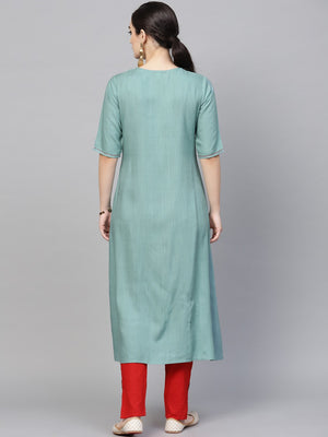 Blue Embroidered A-Line Kurta (Fully Stitched) | Znx4ever.com