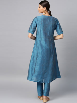 Blue Thread Work Design A-Line Kurta With Pant Set (Fully Stitched) | Znx4ever.com