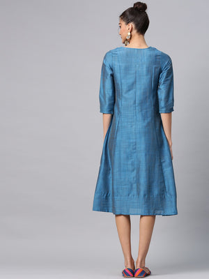 Blue Solid A-Line Dress With Pleated Work (Fully Stitched) | Znx4ever.com