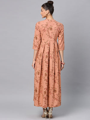 Brown Gold Printed Box Pleated Maxi | Znx4ever.com