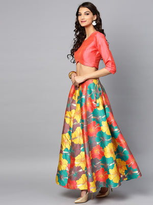 Multicolored Big Floral Jacquard Design Lehenga & Solid Blouse Set (Fully Stitched) | Znx4ever.com
