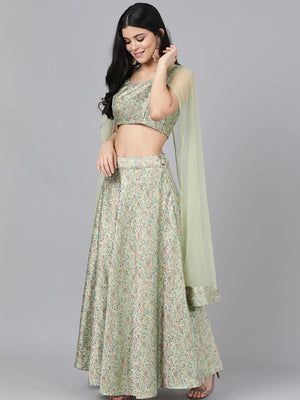 Couture Cream-Coloured Ready to Wear Lehenga & Blouse with Dupatta