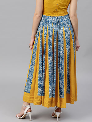 Blue & Yellow Floral Printed Flared Skirt | Znx4ever.com