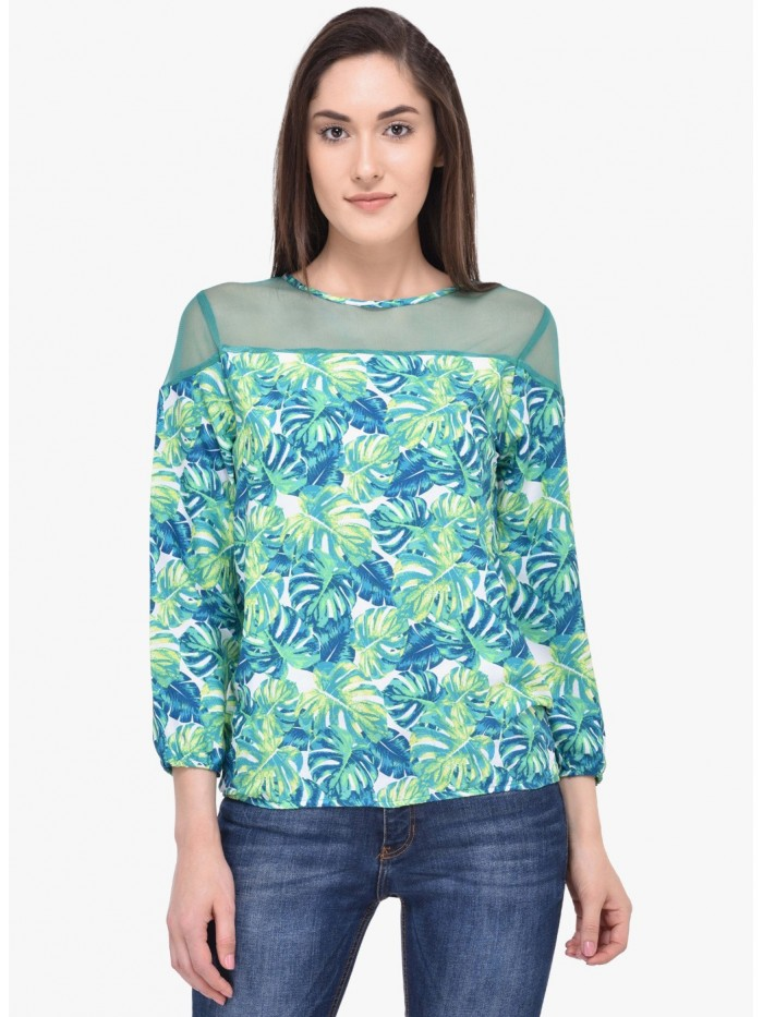 Mayra BLue and Green Mixed Printed Top | Znx4ever.com