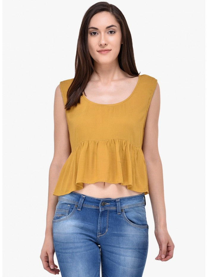 Mayra Yellow Gold Colour Top | Znx4ever.com