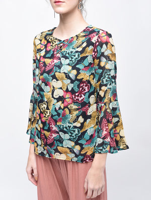 Multi Colour Floral Bell Sleeves Top | Znx4ever.com