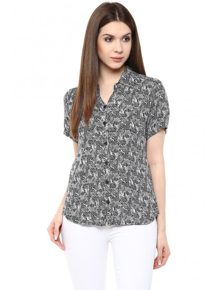 Mayra Black and White Mixed Printed Shirt Top | Znx4ever.com