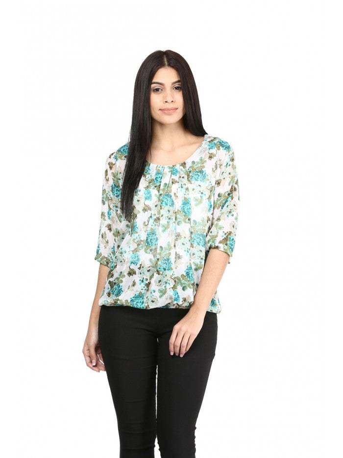 Mayra Multi Colour Floral White Top | Znx4ever.com