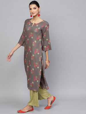 Grey & Green Floral Printed Straight Kurta With Palazzo Set (Fully Stitched) | Znx4ever.com