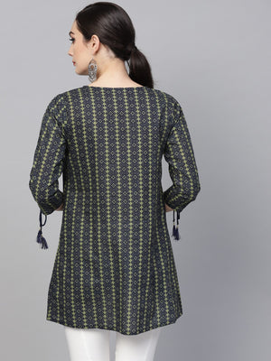 Blue & Green Printed Tunic | Znx4ever.com