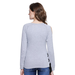 Women Solid light grey Full Sleeve T-Shirt | Znx4ever.com