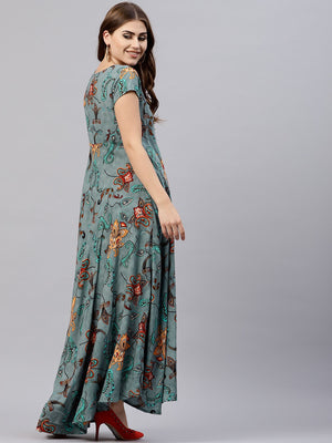 Grey Printed Flared Maxi (Fully Stitched ) | Znx4ever.com