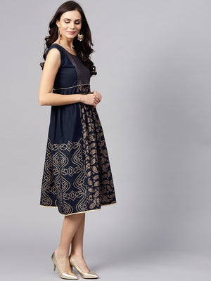 Navy Blue Gold Printed Sleeveless Skater Dress (Fully Stitched) | Znx4ever.com