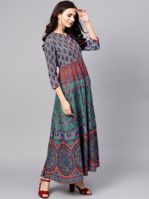 Blue & Green Printed Flared Maxi (Fully Stitched) | Znx4ever.com