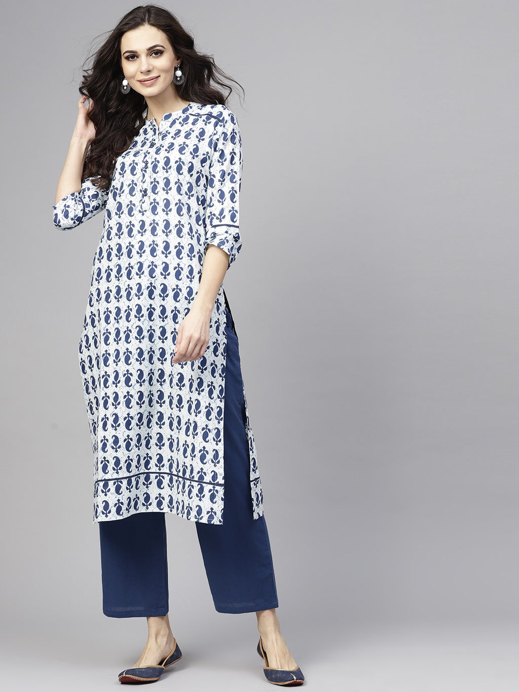 White & Blue Printed Straight Kurta With Pant Set (Fully Stitched) | Znx4ever.com