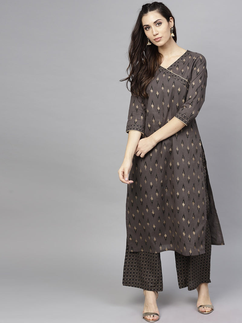 Charcoal & Gold Printed Straight Kurta With Palazzo Set (Fully Stitched) | Znx4ever.com
