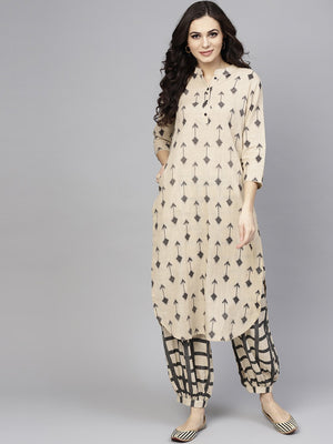 Beige & Black Printed Straight Kurta With Salwar Set (Fully Stitched) | Znx4ever.com