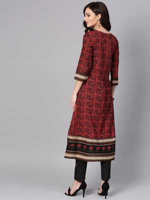 Maroon & Black Printed Front Slit A-Line Kurta (Fully Stitched) | Znx4ever.com