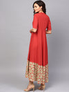 Red Solid Flared Maxi With Printed Hemline (Fully Stitched) | Znx4ever.com