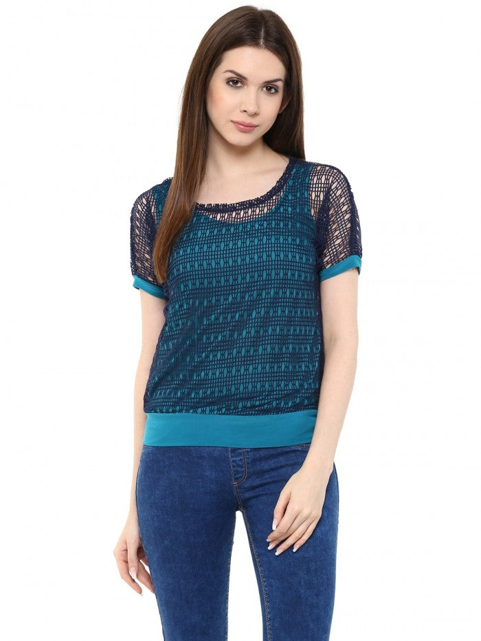 Mayra Blue Netted Top | Znx4ever.com
