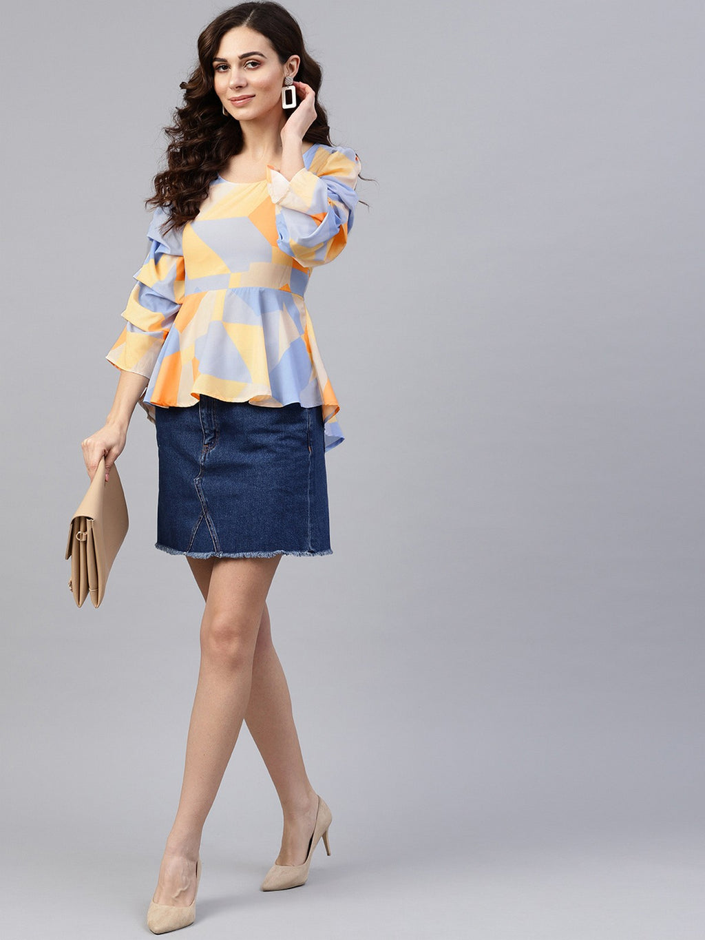 Abstract Printed Peplum Top | Znx4ever.com