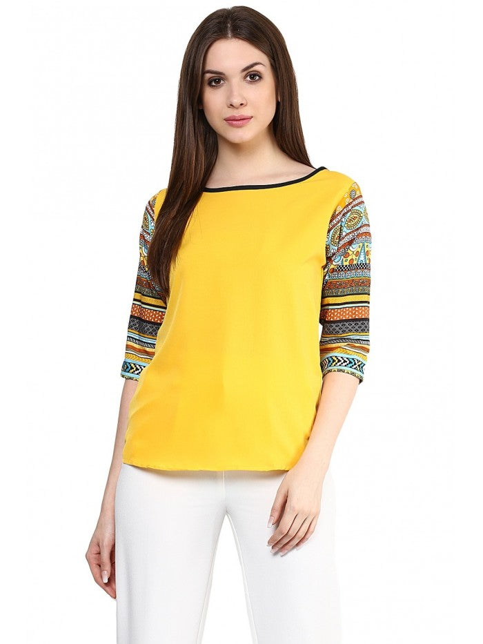 Mayra Yellow Multi Colour Top | Znx4ever.com