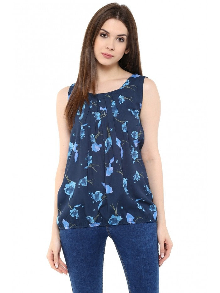 Mayra Midnight Blue Sleeveless Top | Znx4ever.com