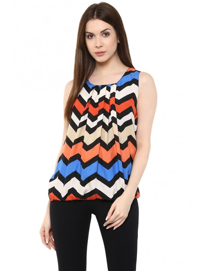 Mayra Multi Colour Sleeveles Top | Znx4ever.com