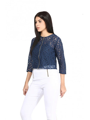 Mayra Women Navy Blue Netted Top | Znx4ever.com