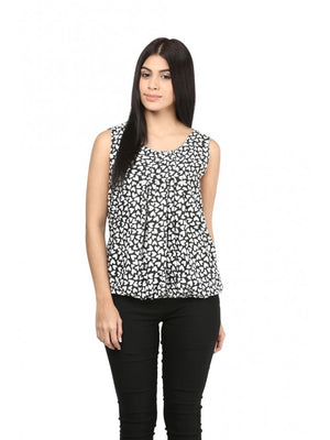 Mayra White & Black Printed Top | Znx4ever.com