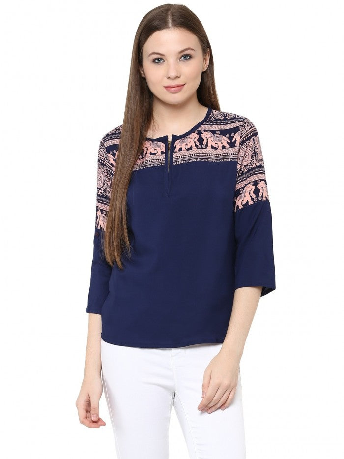 Mayra Blue Printed Top | Znx4ever.com