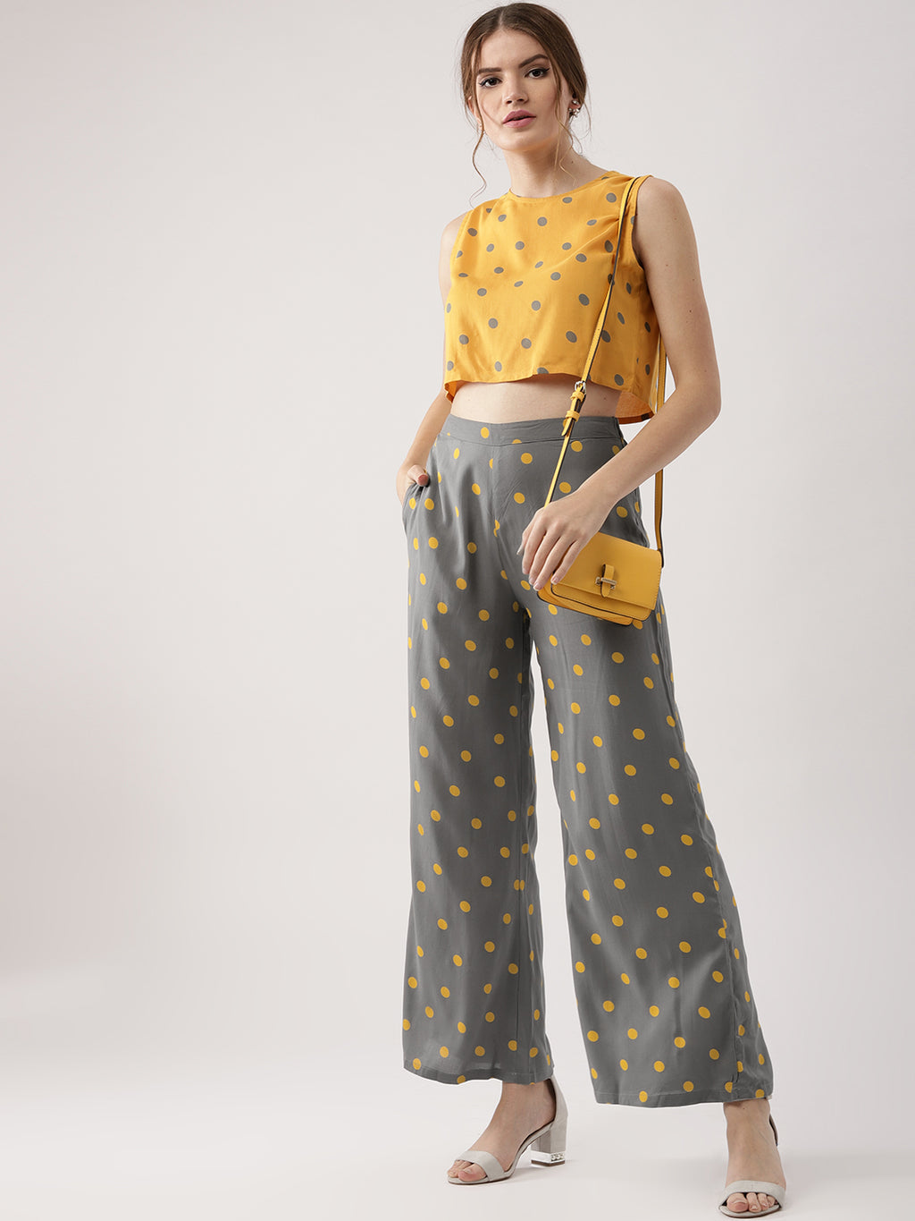 Women Yellow & Grey Printed Crop Top with Palazzos | Znx4ever.com