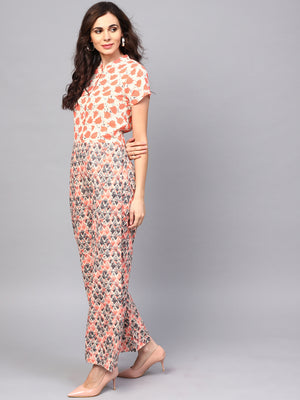 Cream & Peach Printed Jumpsuit (Fully Stitched) | Znx4ever.com