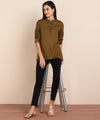 ZNX Women Brown Solid Top