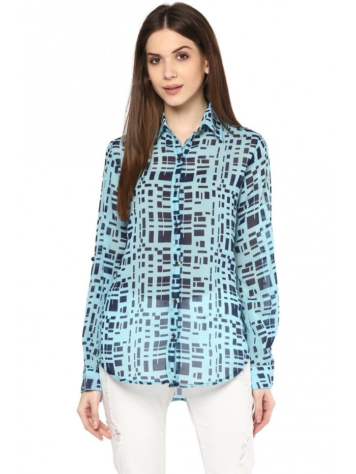 Mayra Cool Blue Printed Top | Znx4ever.com