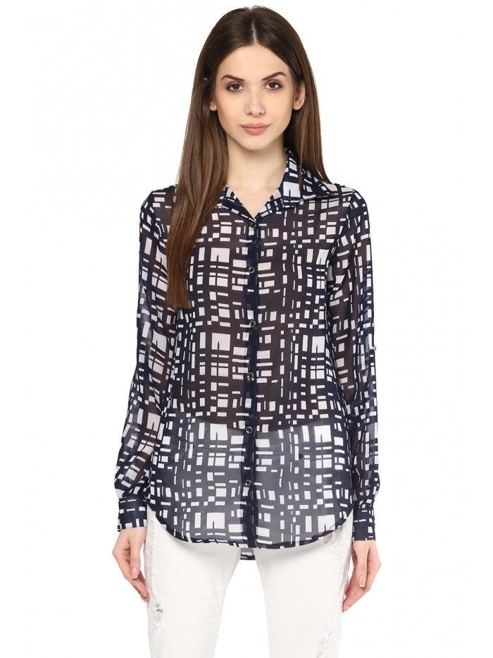 Mayra BLACK and WHITE Printed Top | Znx4ever.com