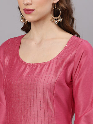 Pink Chinnon Sequence Work A-Line Kurta With Palazzo