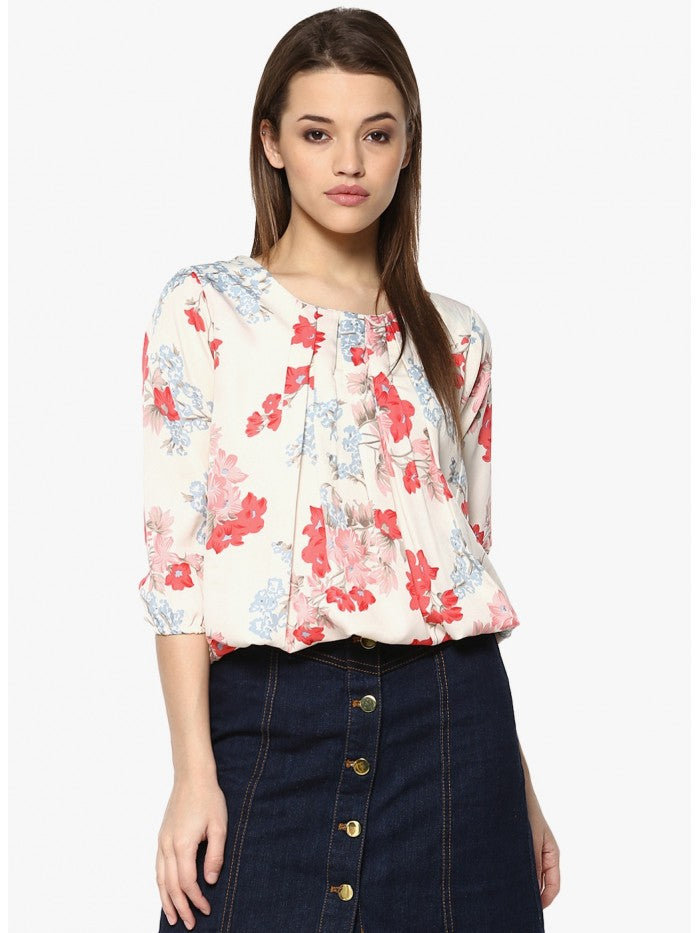 Mayra White and Pink Mixed Printed Top | Znx4ever.com