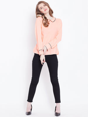 Peach-Coloured Solid A-Line Top | Znx4ever.com