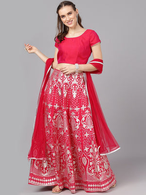 Couture Pink & Silver Solid Ready to Wear Lehenga & Blouse with Dupatta