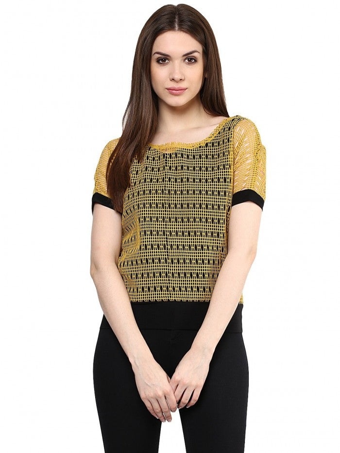 Mayra Musturd Yellow Netted Top | Znx4ever.com