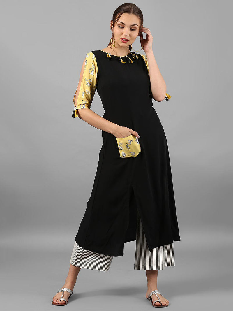 Black Plain Crepe Front Slit Kurti With Poacket | Znx4ever.com