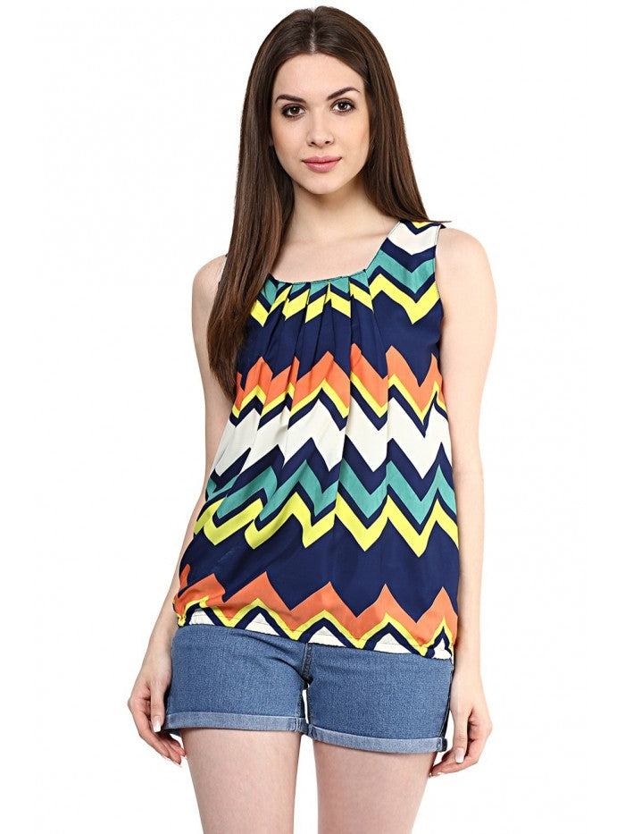 Mayra Multi Colour Printed Sleeveless Top | Znx4ever.com