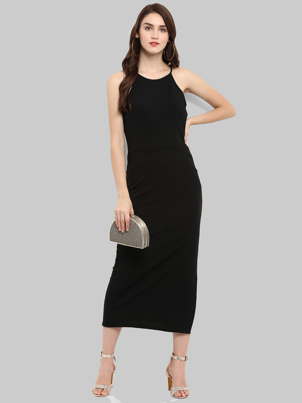 Black Solid Incut Fitted Midi Dress | Znx4ever.com
