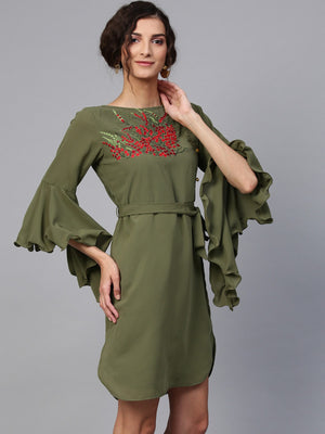 Embroidered Dress With Flare Sleeves | Znx4ever.com