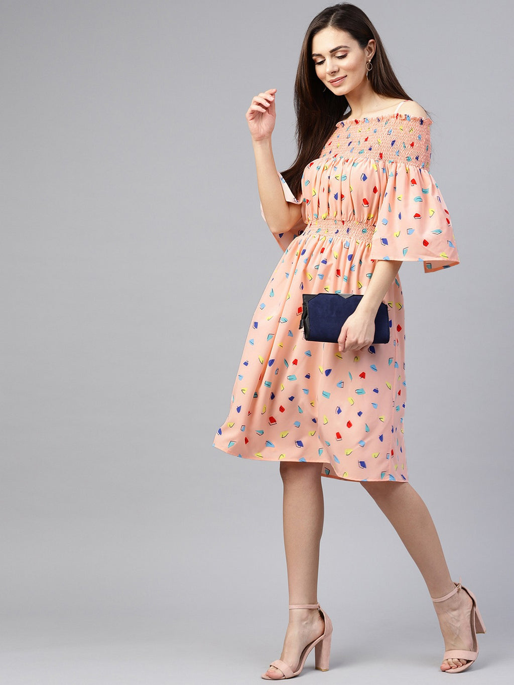 Abstract Printed Bardot Dress | Znx4ever.com