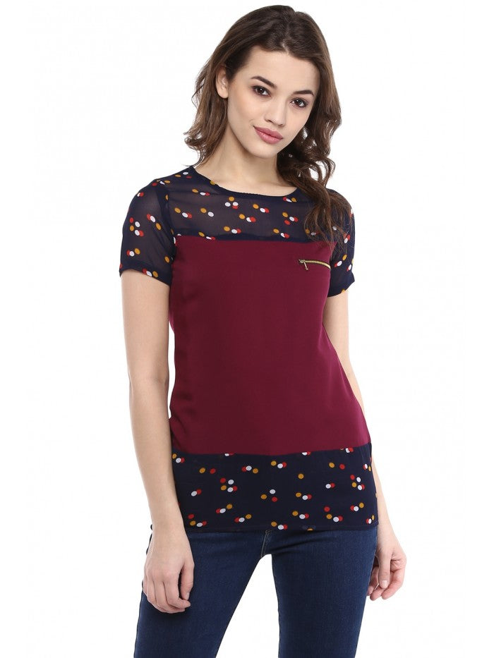 Mayra Maroon and Black printed Top | Znx4ever.com