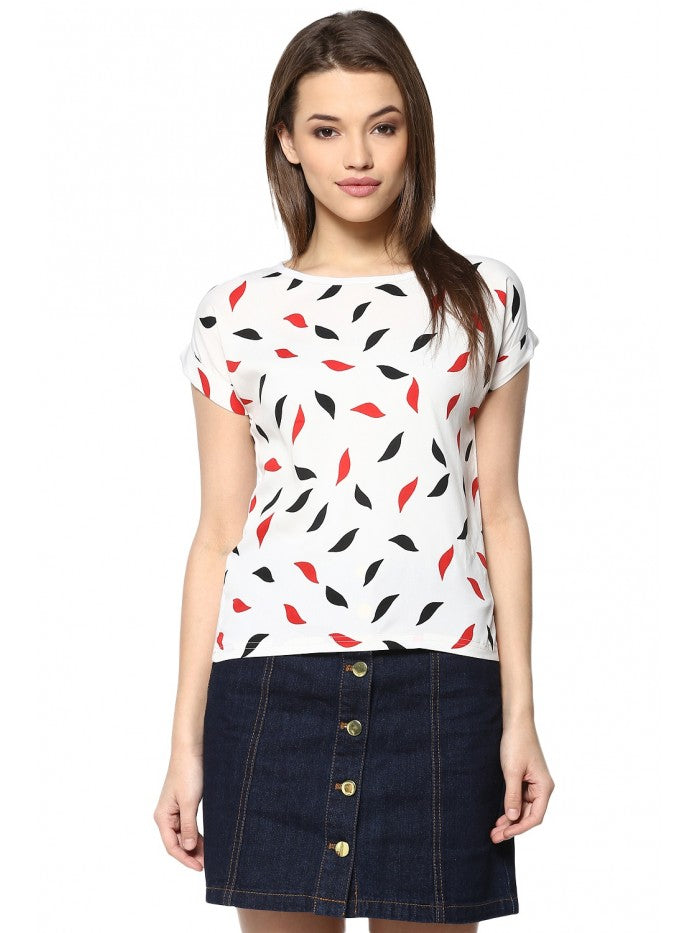 Mayra White Printed Top | Znx4ever.com
