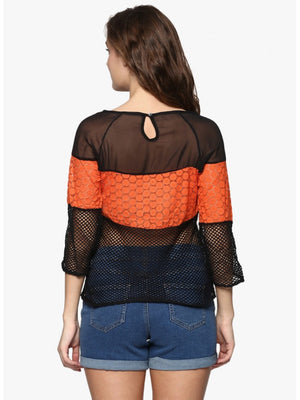 Mayra Black and Orange Netted Top | Znx4ever.com