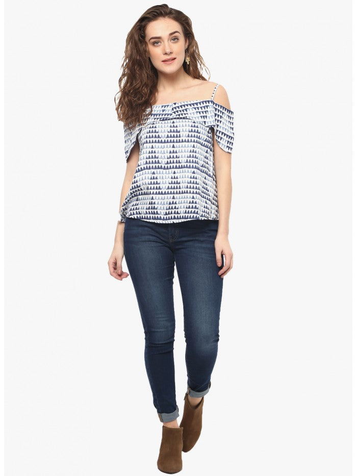 Mayra Off White Printed Top | Znx4ever.com